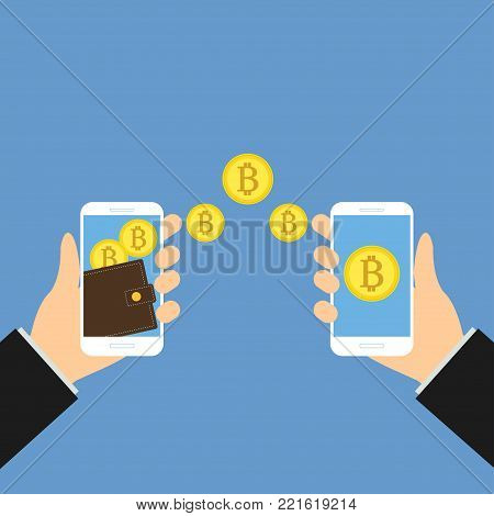 Wallet app page with golden bitcoins on smartphone screen. Hands hold smartphone. Mobile wallet account. Modern concept for web banner, web site, infographic. Creative flat design illustration