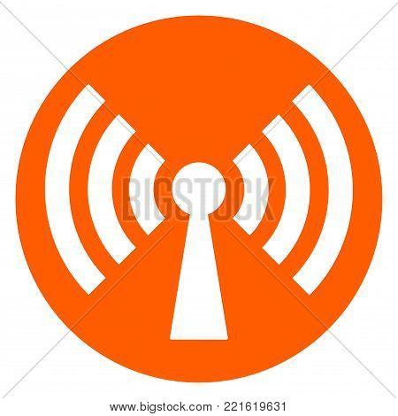 Illustration of broadcast circle orange icon concept