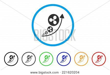 Ripple Inflation Trend rounded icon. Style is a flat grey symbol inside light blue circle with bonus colored versions. Ripple Inflation Trend vector designed for web and software interfaces.