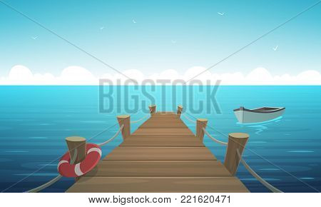 Cartoon illustration of the wooden pier with ropes, life-buoy and boat in the ocean.