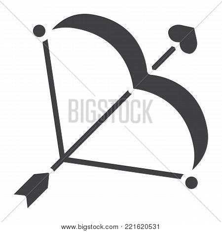 Cupid bow with arrow glyph icon, valentines day and romantic, love sign vector graphics, a solid pattern on a white background, eps 10.