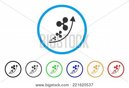 Ripple Inflation Trend rounded icon. Style is a flat grey symbol inside light blue circle with additional color variants. Ripple Inflation Trend vector designed for web and software interfaces.