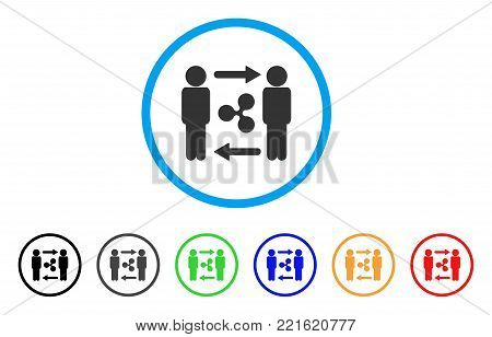 Persons Exchange Ripple rounded icon. Style is a flat grey symbol inside light blue circle with bonus color variants. Persons Exchange Ripple vector designed for web and software interfaces.