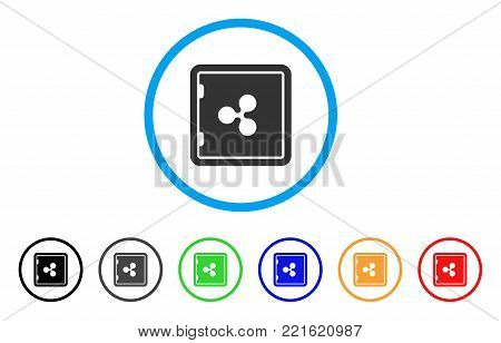 Ripple Banking Safe rounded icon. Style is a flat gray symbol inside light blue circle with bonus color versions. Ripple Banking Safe vector designed for web and software interfaces.