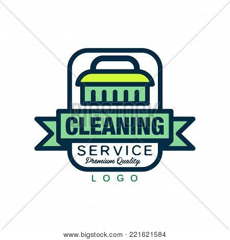 Creative logo, emblem, badge or label with cleaning brush and decorative ribbon. Maid or car wash service. Simple icon in linear style with green fill. Vector illustration isolated on white background