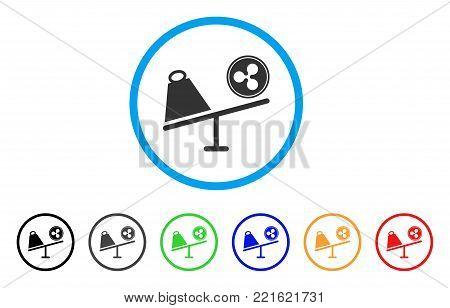Ripple Coin Trade Swing rounded icon. Style is a flat gray symbol inside light blue circle with bonus color versions. Ripple Coin Trade Swing vector designed for web and software interfaces.