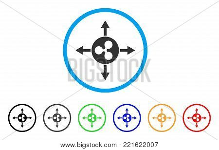 Ripple Directions rounded icon. Style is a flat grey symbol inside light blue circle with bonus colored versions. Ripple Directions vector designed for web and software interfaces.