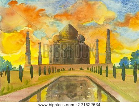 Watercolor painting landscape of archaeological site in the Taj Mahal  in Agra, India. landmark of the world, in blue, yellow, orange sky and clouds background.