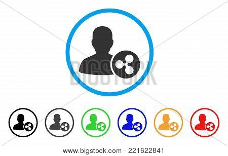 Ripple Person Loan rounded icon. Style is a flat grey symbol inside light blue circle with bonus color variants. Ripple Person Loan vector designed for web and software interfaces.
