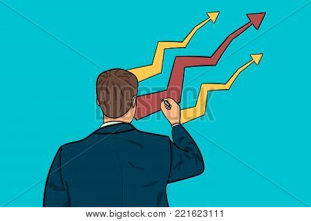 businessman draws a growth chart. cartoon character