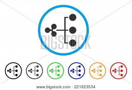 Ripple Structure Diagram rounded icon. Style is a flat grey symbol inside light blue circle with additional colored versions. Ripple Structure Diagram vector designed for web and software interfaces.