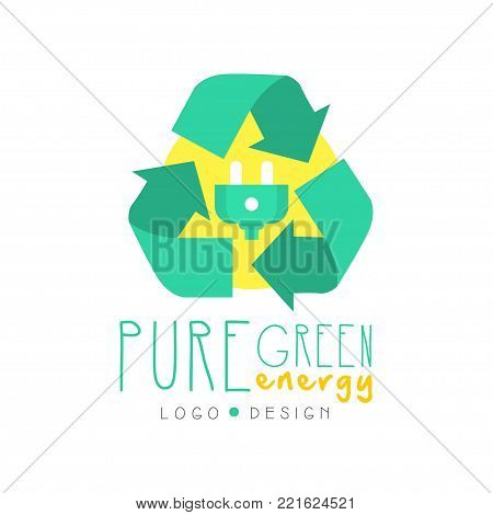 Illustration with recycling symbol and electric plug, logo original design template. Green and yellow alternative pure energy, renewable electricity production industry. Flat vector isolated on white