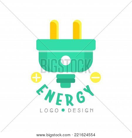Flat original logo design with electric plug. Trendy eco concept for environmentally friendly business or modern technologies. Green and yellow alternative clean energy. Vector isolated on white