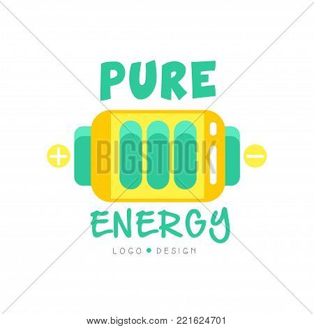 Pure energy logo original design with colorful battery. Green and yellow alternative source of power, electricity production industry. Eco-friendly business label. Flat vector isolated on white.