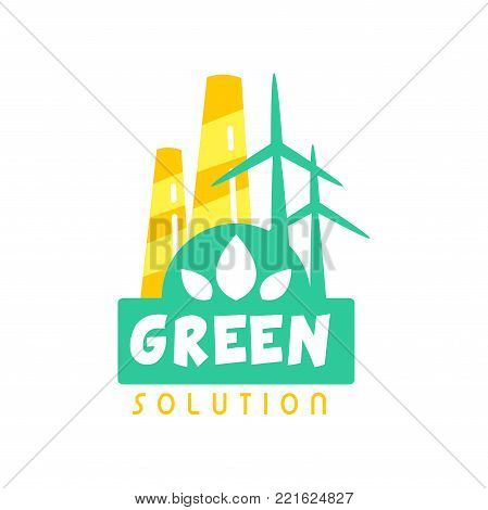 Creative eco energy logo design template with factory chimney and windmills. Alternative pure solution, clean power. Label concept for environmentally friendly business. Flat vector isolated on white