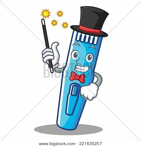 Magician trimmer mascot cartoon style vector illustration
