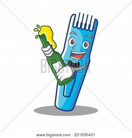With beer trimmer mascot cartoon style vector illustration