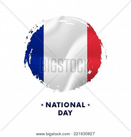 Banner or poster of France National Day celebration. Waving flag of France, brush stroke background. Vector illustration.