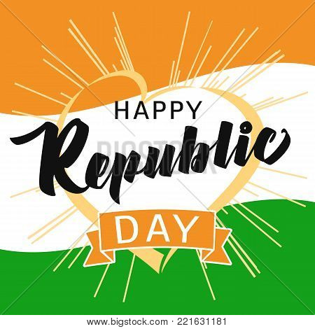 Happy Republic Day Idia heart and beams greeting card in national flag colors. Vector poster or banner background Indian Republic day 26 January for website header