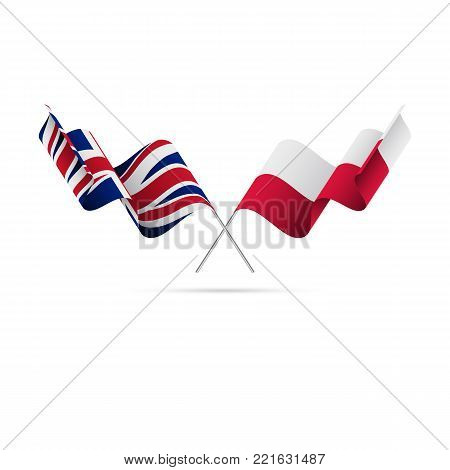 Great Britain and Poland flags crossed. Vector illustration.