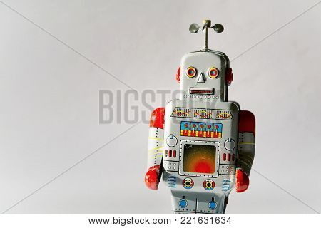 Vintage Tin Toy Robot Isolated, Drone Delivery Artificial Intelligence Concept