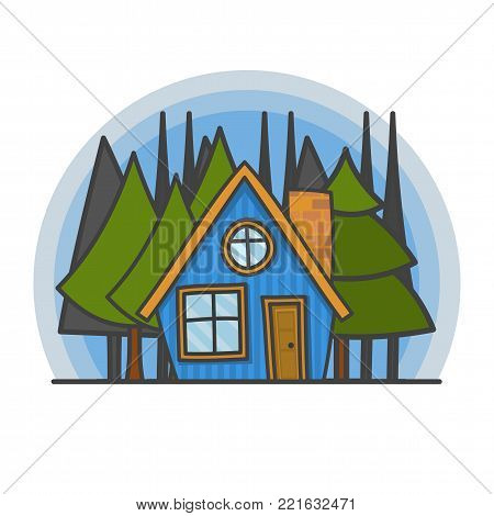 Cartoon scene with house in the forest illustration. Doodle vector, hand drawn building