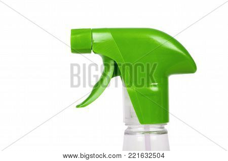 Cleaning spray bottle isolated on white background. Housework and sanitary concept.