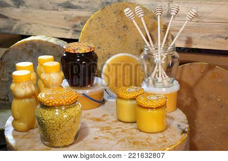 Beekeeping. Products of livelihoods of bees. Beeswax, honeycomb, honey, pollen, propolis. Products of beekeeping.