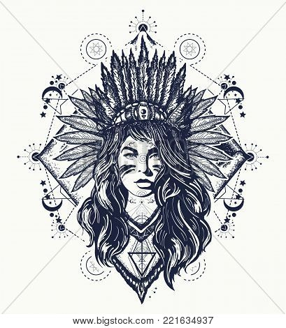 Tribal Woman Tattoo And T-shirt Design. Native American Woman Tattoo Art. Ethnic Girl Warrior. Young