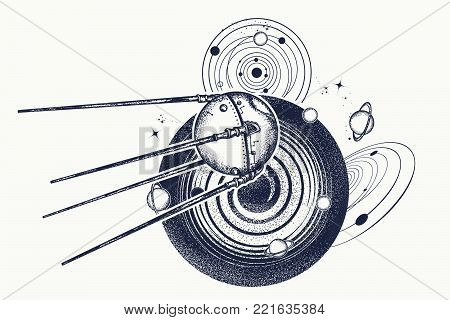 Universe Research. Symbol Of Space Expedition, Science, Future, Research Of Solar System. Sputnik Ta