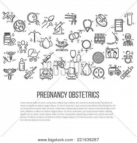 Banner template with different research symbols including ultrasound, In vitro fertlization, gynecological chair, pregnancy test, pregnant  woman. Line style vector illustration with place for your text.