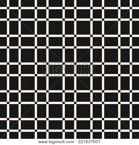 Grid texture. Vector lattice seamless pattern. Abstract geometric texture with plain grid, vertical and horizontal interlacing lines. Square grid, repeat tiles. Dark monochrome checkered background. Design for fabric, cloth, textile, gift paper