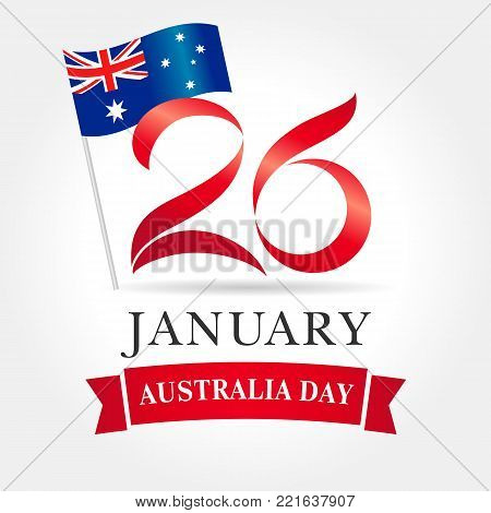 26 January Happy Australia day greeting card. Vector illustration for 26th january Australia day lettering banner with national flag and text