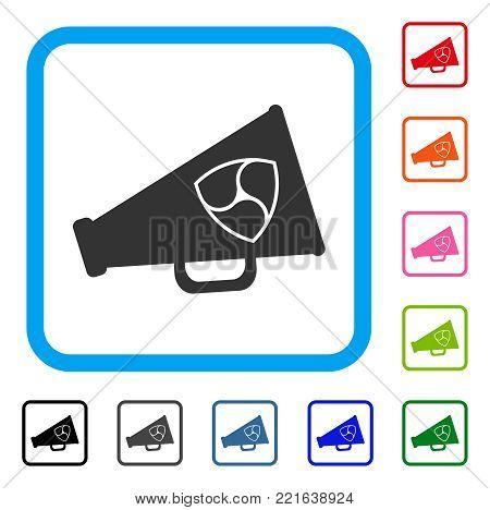 Nem Megaphone icon. Flat gray pictogram symbol in a blue rounded frame. Black, gray, green, blue, red, orange color variants of nem megaphone vector. Designed for web and application user interface.