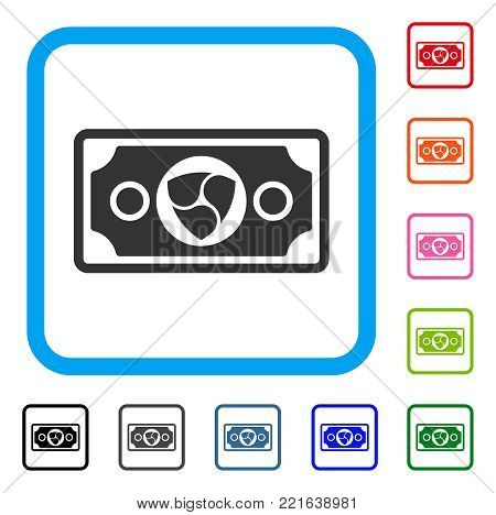 Nem Banknote icon. Flat grey iconic symbol inside a blue rounded square. Black, grey, green, blue, red, pink color additional versions of nem banknote vector.