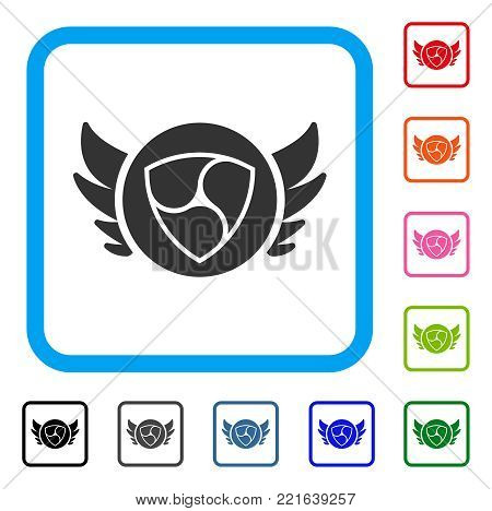 Nem Angel Investment icon. Flat grey iconic symbol inside a blue rounded frame. Black, grey, green, blue, red, pink color additional versions of nem angel investment vector.