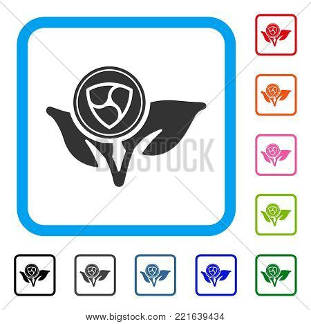 Nem Coin Eco Startup icon. Flat grey pictogram symbol inside a blue rounded square. Black, grey, green, blue, red, pink color versions of nem coin eco startup vector.