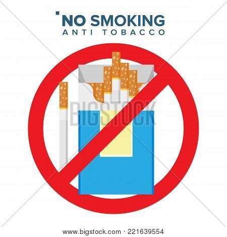 No Smoking Sign Vector. Prohibition Icon. Anti Offering And Bad Habit. Isolated Cartoon Illustration