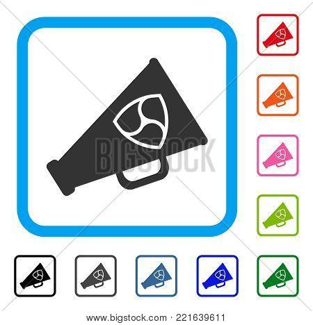 Nem Megaphone icon. Flat gray pictogram symbol inside a blue rounded frame. Black, grey, green, blue, red, orange color variants of nem megaphone vector. Designed for web and software user interface.