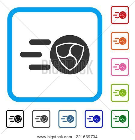 Nem Trace icon. Flat gray iconic symbol in a blue rounded squared frame. Black, grey, green, blue, red, orange color variants of nem trace vector. Designed for web and software interfaces.