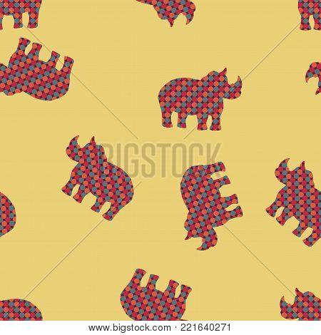 Rhino vector illustration. Rhinoceros seamless pattern background. Abstract stylized wildlife wallpaper. Africa design.