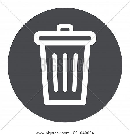 Illustration of trash can circle grey icon