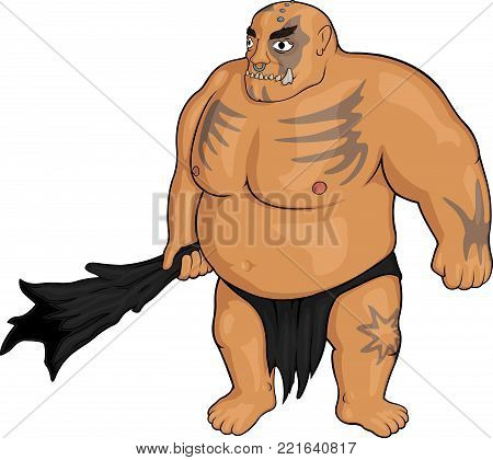 Isolated cartoon strong Ogre with wooden club on white background