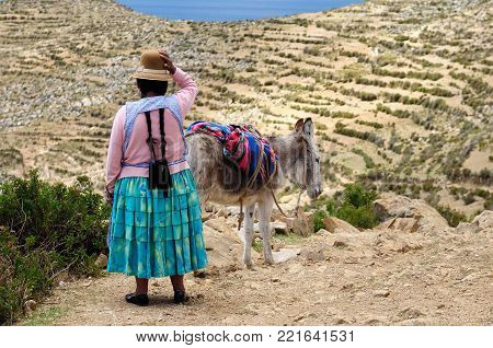 South America, Bolivia - Isla del Sol on the Titicaca lake, the largest highaltitude lake in the world. Ethnic woman is travelling on the donkey through the island