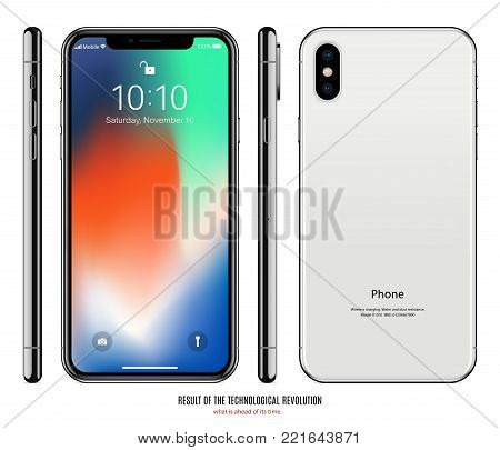 smartphone mockup with colored screen front, back and side on white background. stock vector illustration eps10