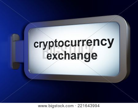 Cryptocurrency concept: Cryptocurrency Exchange on advertising billboard background, 3D rendering