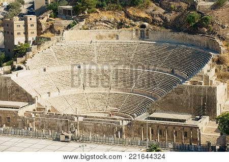 AMMAN, JORDAN - AUGUST 18, 2012: View to the ancient Roman amphitheater in Amman, Jordan.
