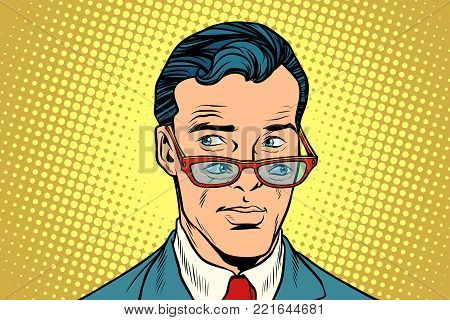 Double view, a man in glasses. Pop art retro vector illustration