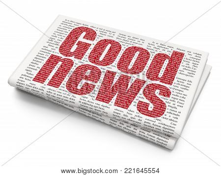 News concept: Pixelated red text Good News on Newspaper background, 3D rendering