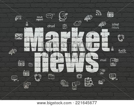 News concept: Painted white text Market News on Black Brick wall background with  Hand Drawn News Icons